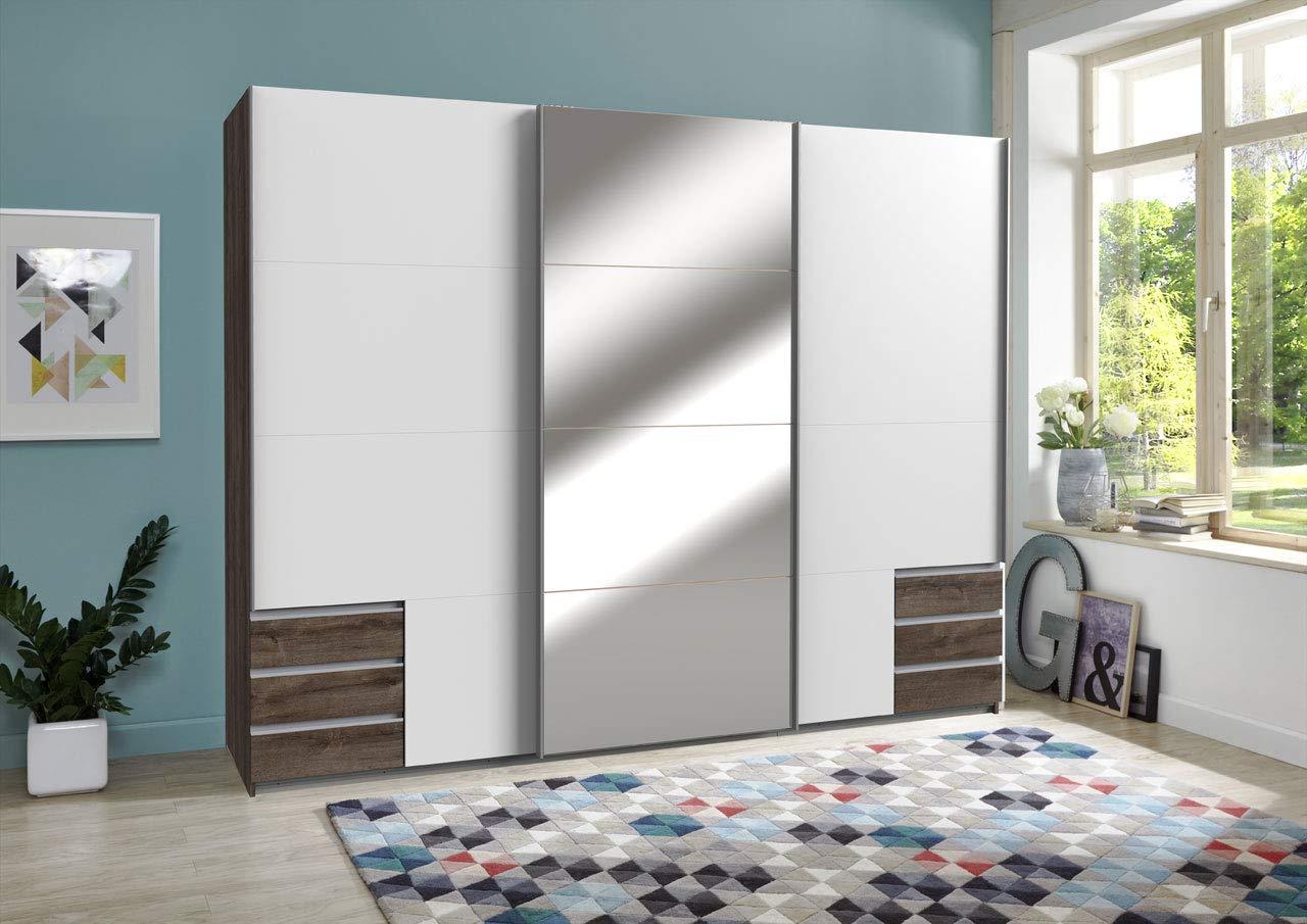 lifestyle4living Kleiderschrank 3-türig in Eiche-Dekor und weiß | Schwebetürenschrank mit Spiegel, Schubladen und viel Stauraum, ca. 270 cm breit