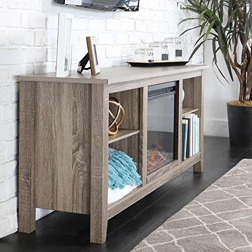 New 58 Inch Wide Ash Grey TV Stand with Fireplace Insert ...