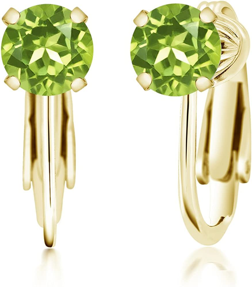 Gem Stone King 1.90 Ct Round 6mm Green Prasiolite Brass Rose Gold Plated Brass Stud Earrings
