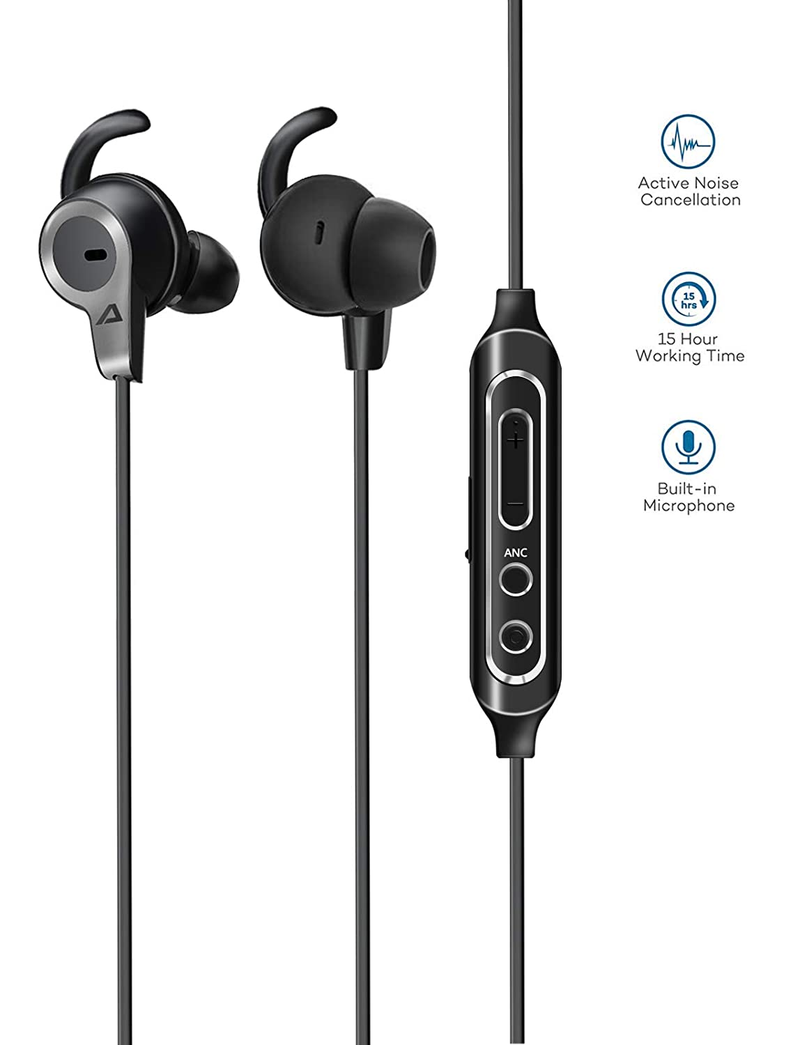 Neckband Bluetooth Headphones, ABLEGRID MKolar ANC Active Noise Cancelling Wireless Sports Headphones with 15 Hour Playtime, Magnetic Clip, IPX5 CVC 6.0 MEMS Mic MKolar