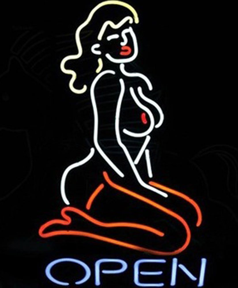 Cozyle Glass Bright Neon Light Live Nudes Open Neon Sign 17''x14'' Real for Mancave Beer Bar Pub Garage Room