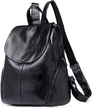 Backpacks Women Leather Handbag Waterproof Fashion College Shoulder Bags Multipurpose Rucksack Travel Bag Black