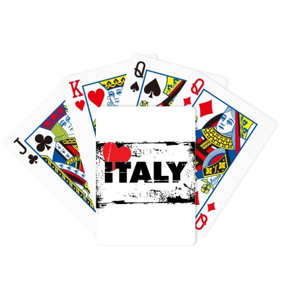 I Love Italy Word Love Heart Rectangle Poker Playing Cards Tabletop Game Gift