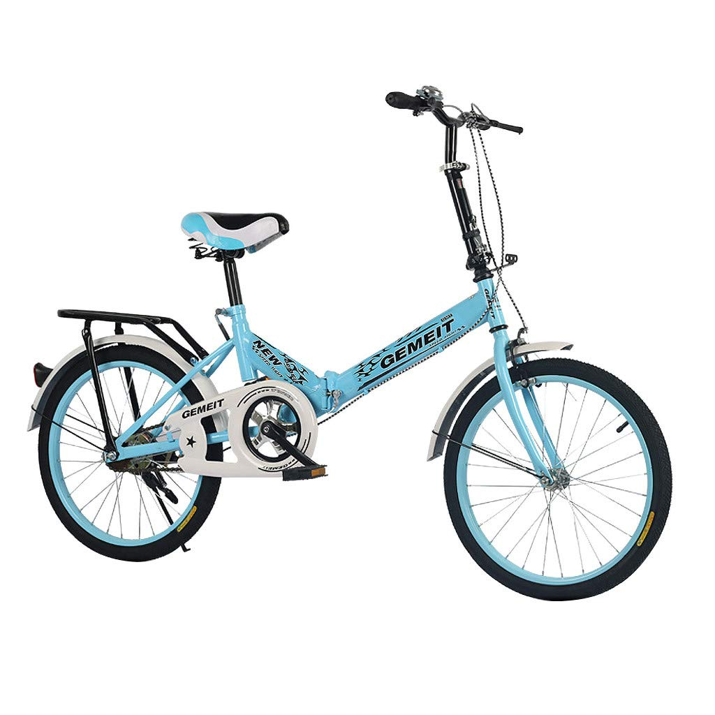 Folding Road Bike Lightweight Aluminum Frame for Adults Men and Women 20in City Mini Compact Bike Bicycle Urban Commuter with Back Rack and V Brake