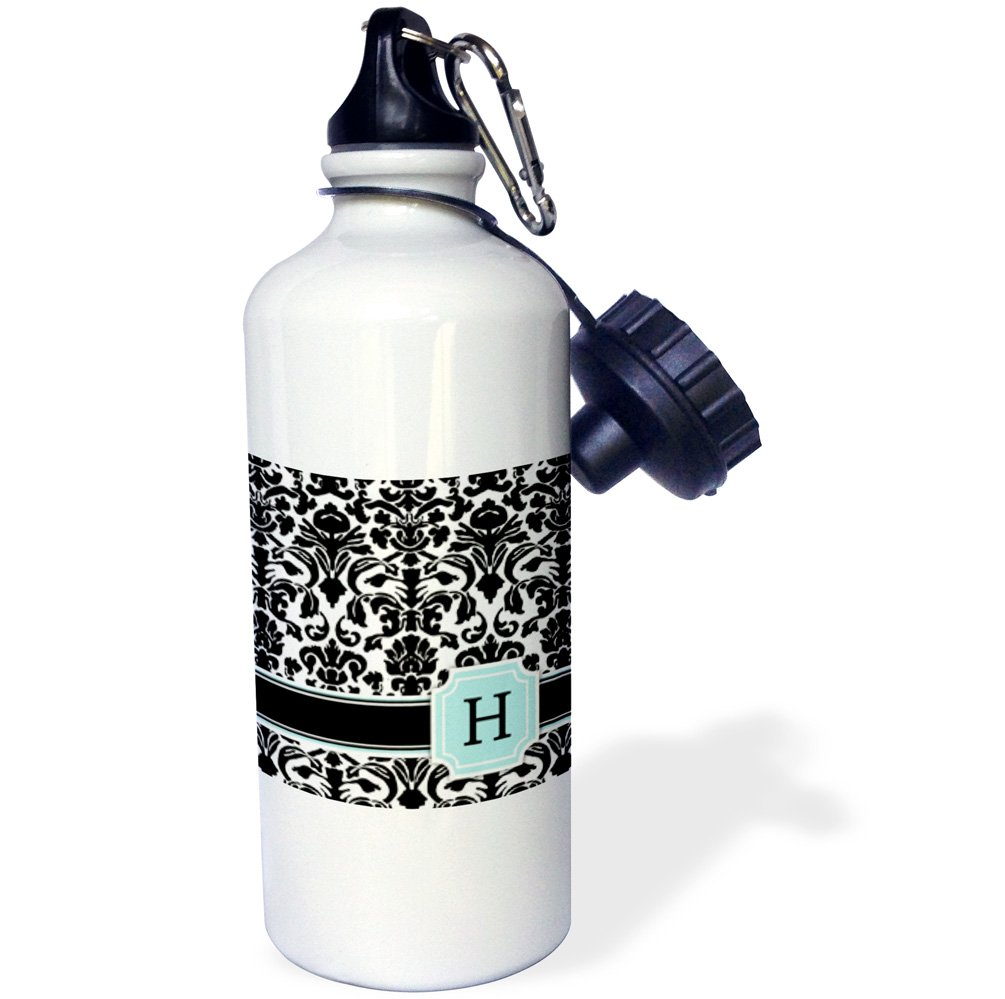 21 oz White 3dRose wb/_154357/_1Letter H personal monogrammed mint blue black and white damask pattern-classy personalized initial Sports Water Bottle
