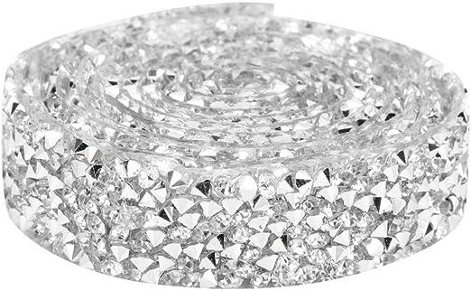 5 Yards Diamond Flower Mesh Rhinestone Ribbon Wrap Trim Sewing Applique Wedding