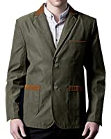 XQS Mens British Style Blazer Jacket Slim Two Button Sport Coat