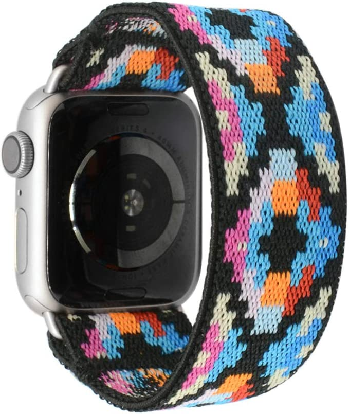 Tefeca Geometry Pattern Elastic Compatible/Replacement Band for Apple Watch 42mm/44mm (Silver Adapter, M fits Wrist Size : 6.5-7.0 inch)