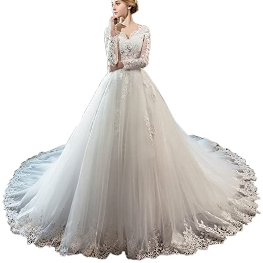 34be25718dec Rudina Long Sleeved V Neck Tailed Wedding Dresses Lace Applique Bridal  Gowns Wedding Dress White at Amazon Women's Clothing store: