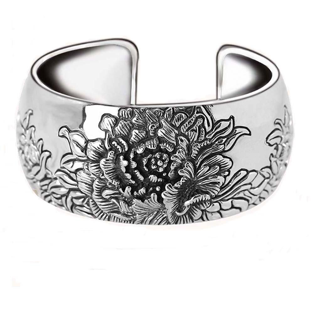 Jade Angel Retro Vintage 925 Sterling Silver Wide Cuff Bracelet Engraved Flower