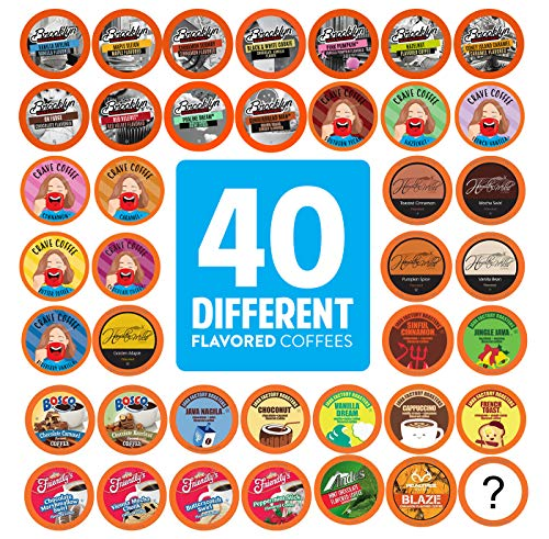 (Two Rivers Flavored Coffee Pods, Compatible with 2.0 Keurig K-Cup Brewers, Variety Pack, 40)