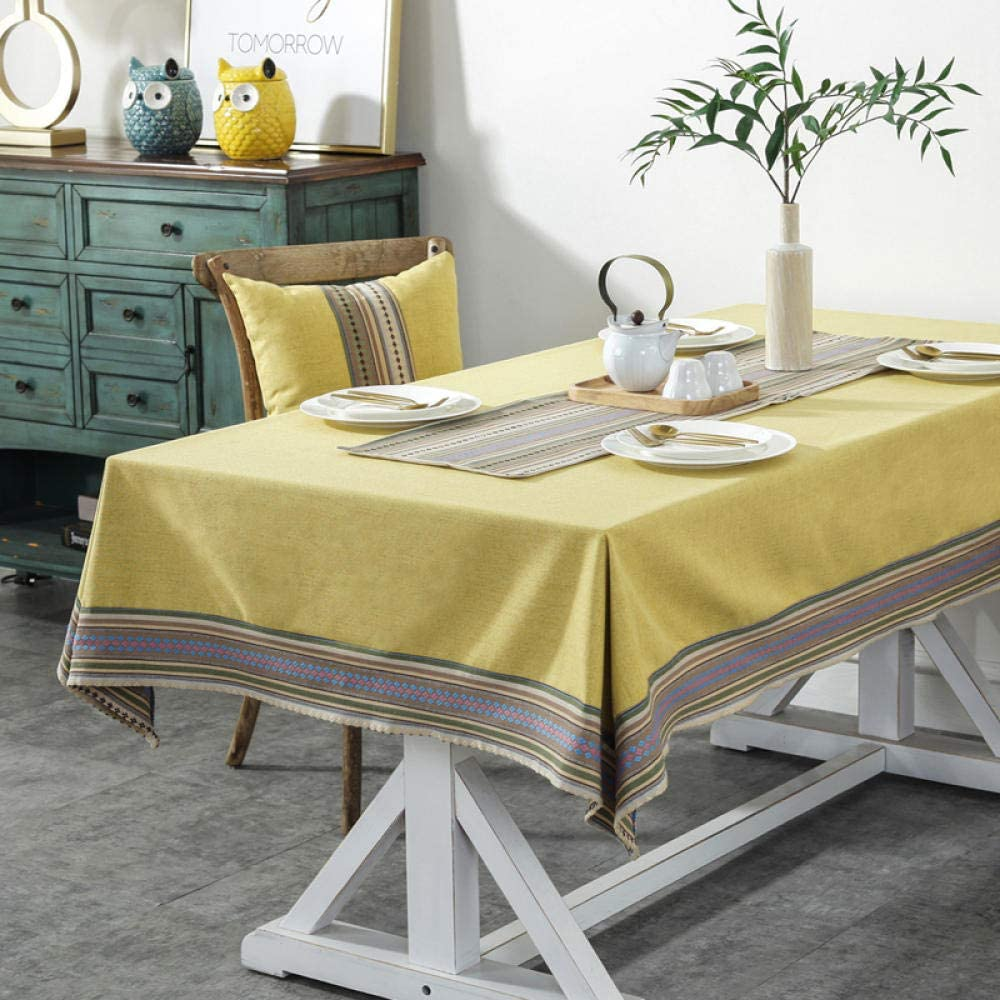 Ahuike Mantel Lavable Rectangular Resistente Banderas de Mesa de Algodón y Lino Fácil de Limpiar para Jardín Habitaciones Amarillo 70 × 80cm
