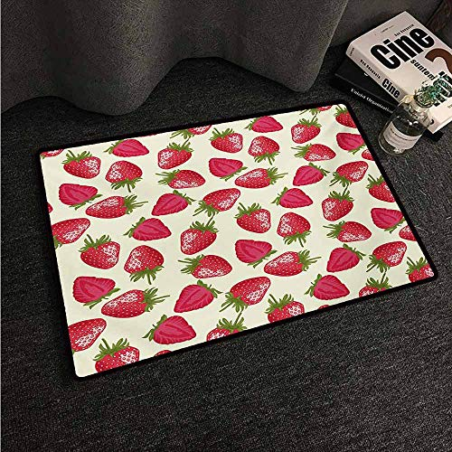 HCCJLCKS Interior Door mat Fruits Strawberries Vivid Growth Plant Vitamin Organic Diet Refreshing Image All Season General W35 xL59 Eggshell Red Olive Green