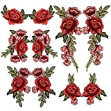Arts & Crafts : 10PCS(5 Pairs) Embroidery Lace Flower Fabric Applique Sew on Patches Embroidered Patch DIY for clothings,jeans