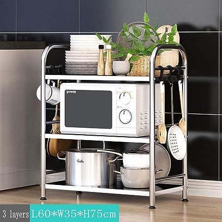 Estante de cocina de acero inoxidable con múltiples capas ...