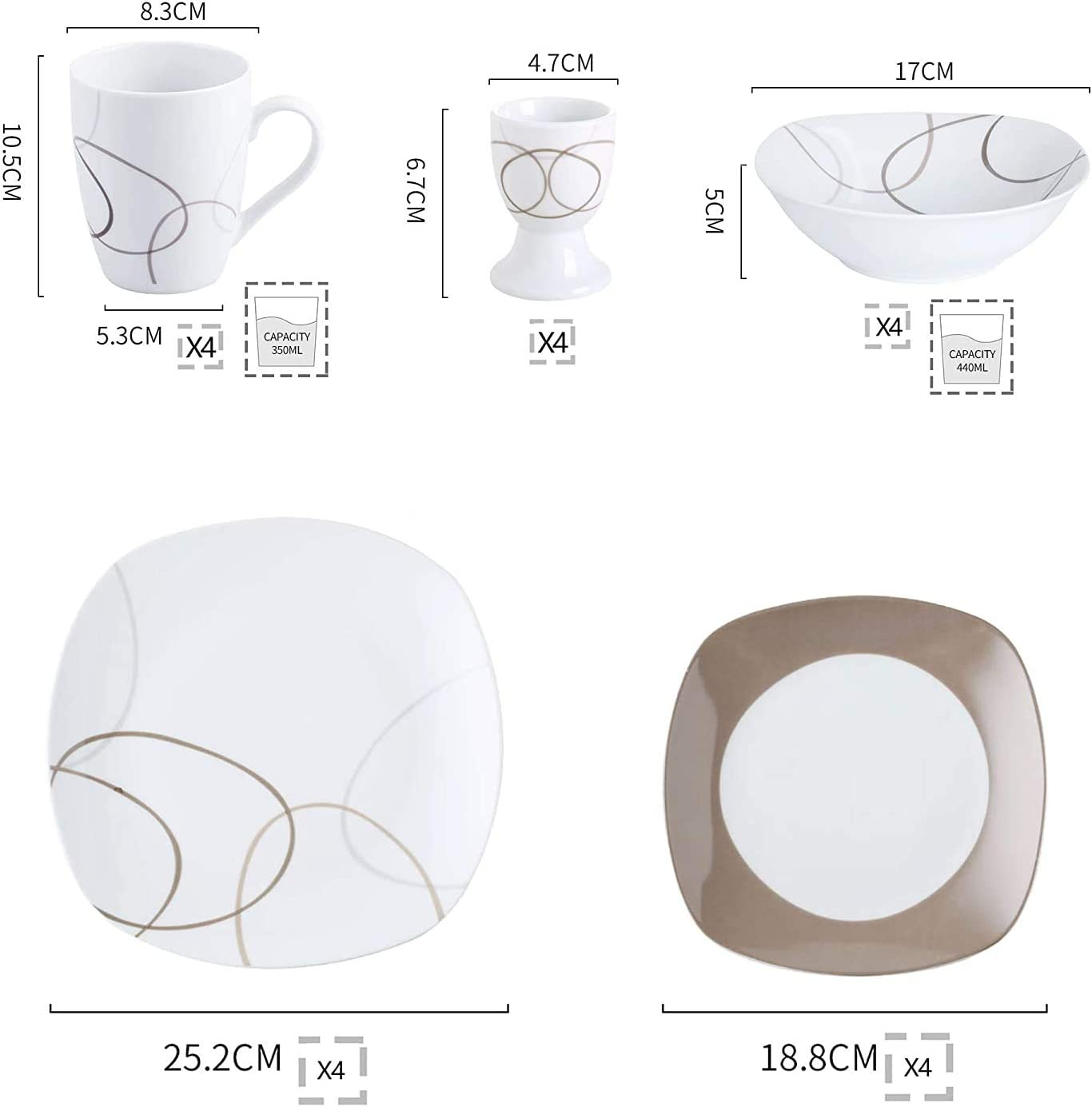 Soup Plate Dessert Plate NIKITA Series Service for 6 VEWEET 18-Piece Porcelain Tableware Set Brown Lines Patterns Kitchen Dinner Sets with Dinner Plate