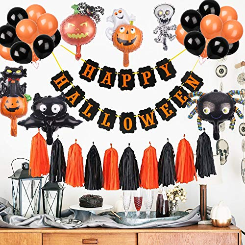 Halloween Party Adults (Halloween Party Decorations Banner, Halloween Party Supplies Favors Paper Tassel Garland Balloons for Kids Adults Home Outdoor Indoor, Scary Orange Black Halloween Birthday Backdrop for Haunted)