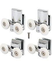 Set of 4 Shower Door Rollers Runners 23mm Diameter Bathroom Twin Wheels Pulleys Top Bottom Replacement Parts