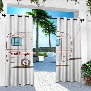 Leinuoyi Camper, cortina de exterior extra ancha, linda furgoneta vintage recreativa caravana viajero camión en la carretera diseño gráfico retro, juego de cortinas para exteriores para patio impermeable 120 x 108 pulgadas