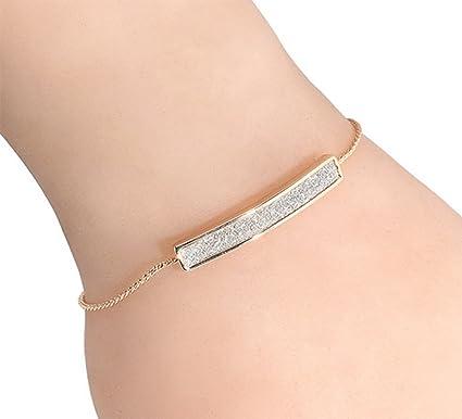 codes promo mieux aimé profiter du prix le plus bas Qifumaer Bracelet Simple Mode Chaîne de Main Femme Romantique de Argent  Bracelet Réglable pour Femme Bijoux Cadeau (Gold)