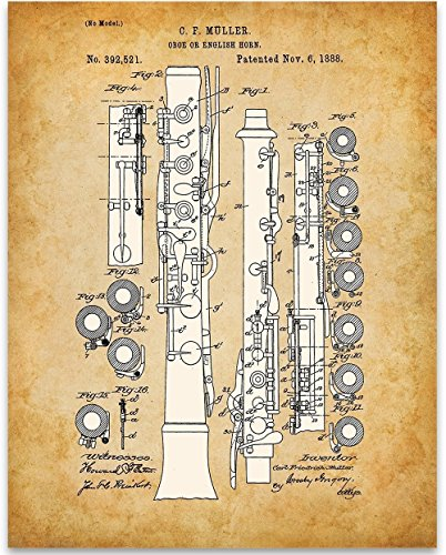 Oboe Patent Print - 11x14 Unframed Patent - Perfect Music Room Decor and Great Gift for Band Director, Musician