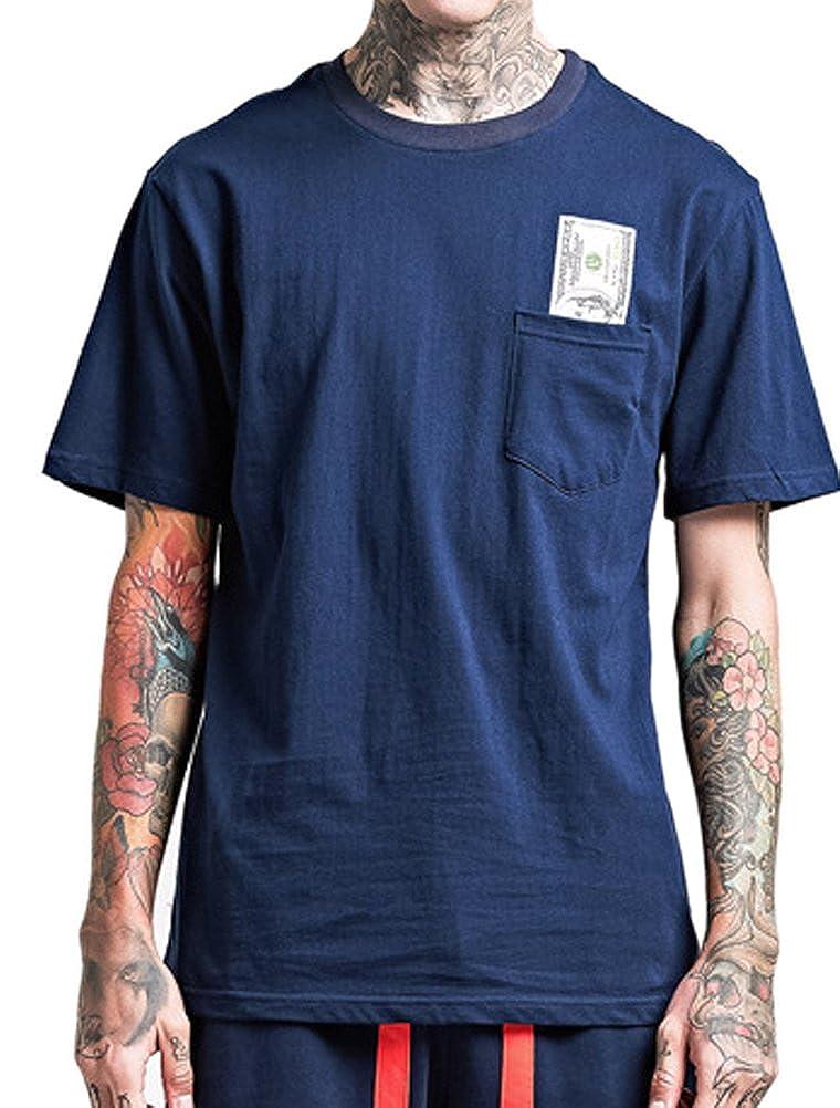 ROBO Casual T-Shirt Coton Homme Top Chemise Manches Courtes T-Shirt Imprimé Floral Loose Grande Taille