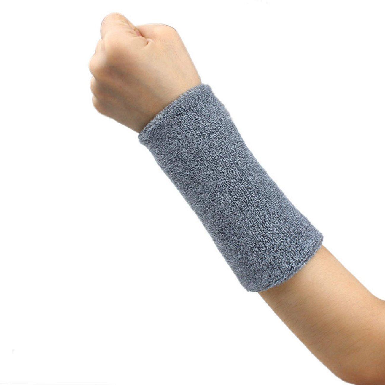 Tonsee 1 PCS Unisex Cotton Basketball Tennis Gym Yoga Sweatband Wristband (Gray)