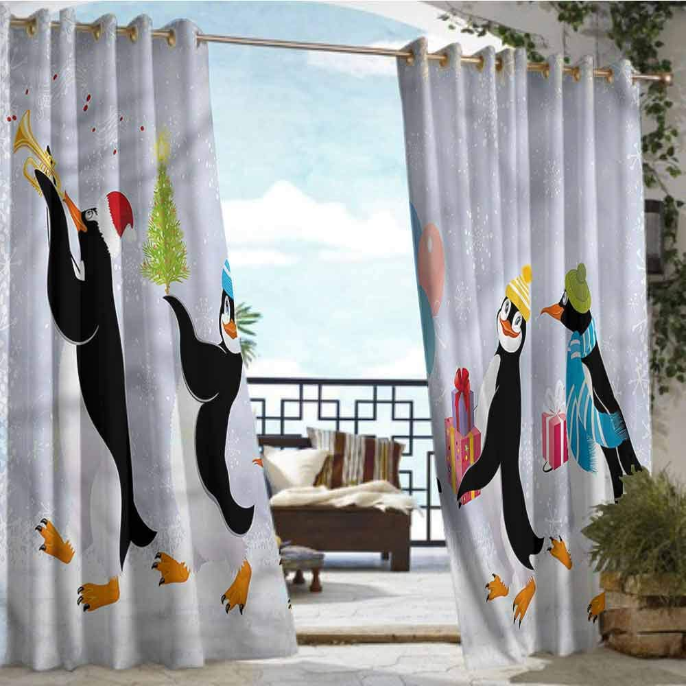 crabee Outdoor Privacy Curtain for Pergola Christmas,Cute Penguins in Caps,W96 xL108 for Front Porch Covered Patio Gazebo Dock Beach Home