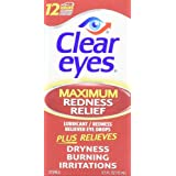 Clear Eyes TMVLuC Maximum Strength Redness Relief, 0.5 Fluid Ounce (2 Pack)