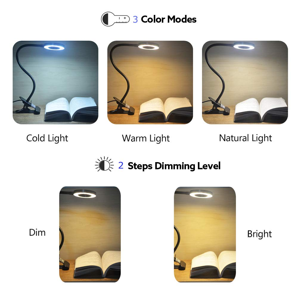 12W LED Reading Light Clip on Light with 3 Lighting Modes 2 Dimming Levels,DZLight Eye-Care Flexible Clip on Lamp for Desk,Bed Headboard and Computers,USB Adapter Included by DZLight (Image #2)
