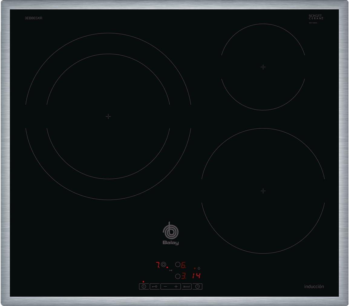 Balay 3EB865XR - Placa de inducción, marco de acero inoxidable, 3 zonas de cocción, zona 28 cm marco inox, control táctil, color negro