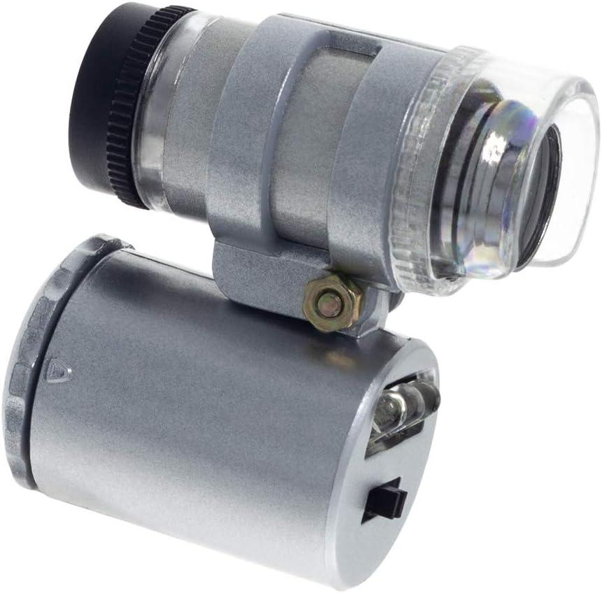 Smartfox Mini Mikroskop Taschenmikroskop Vergr/ö/ßerungsglas Juwelierlupe W/ährungslupe 60x mit LED und UV-Licht