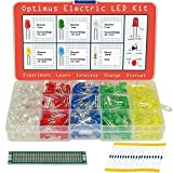 5mm Diffused LED Diode Assortment Kit - Pack of Assorted Color LEDs and Resistors (600 pcs) - Red, Green, Yellow, Blue and White Light Emiting Diode Indicator Lights from Optimus Electric