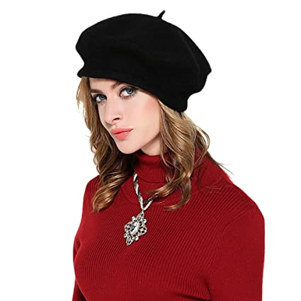 f29376ce Adults Elegant French Wool Beret Hat Winter Autumn Warm Artist Plain Beanie  Cap Fancy Dress Accessory