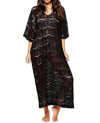 Lovaru womens sexy crochet chiffon summer sleeveless maxi dress