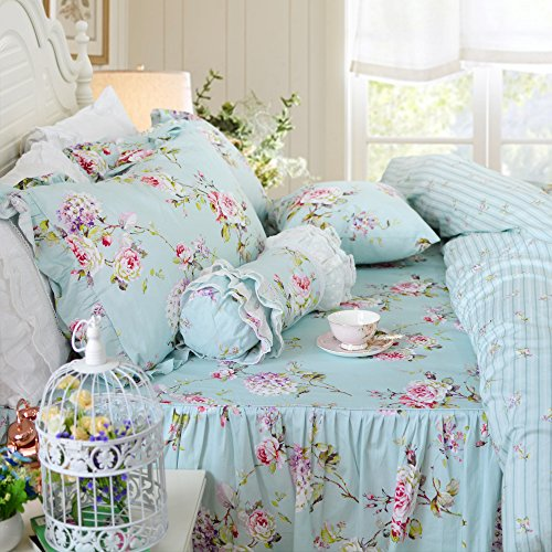 - FADFAY Duvet Cover Set 4-Pieces Farmhouse Bedding with Bedskirt Shabby Blue Floral Hydrangea Print Bedspread Elegant French Country Style with Ruffle 4 Pcs Queen Size