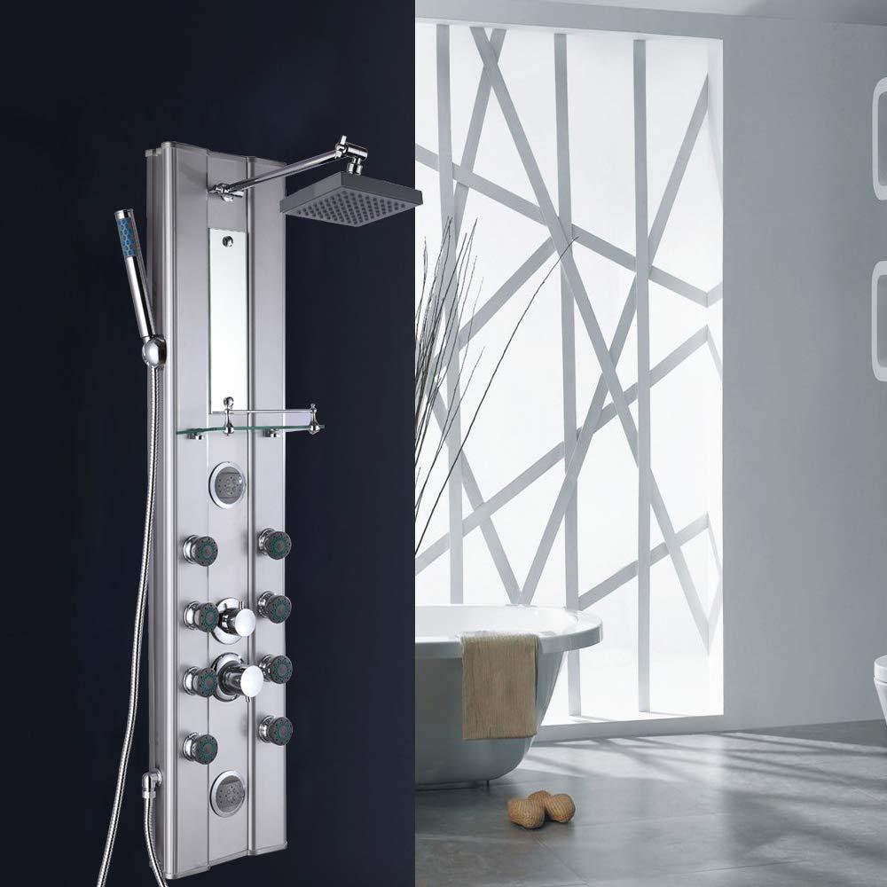 plata brillante con espejo y estante de vidrio Froadp Conjunto de Ducha en Aluminum con 81 Boquillas Anti-caliza