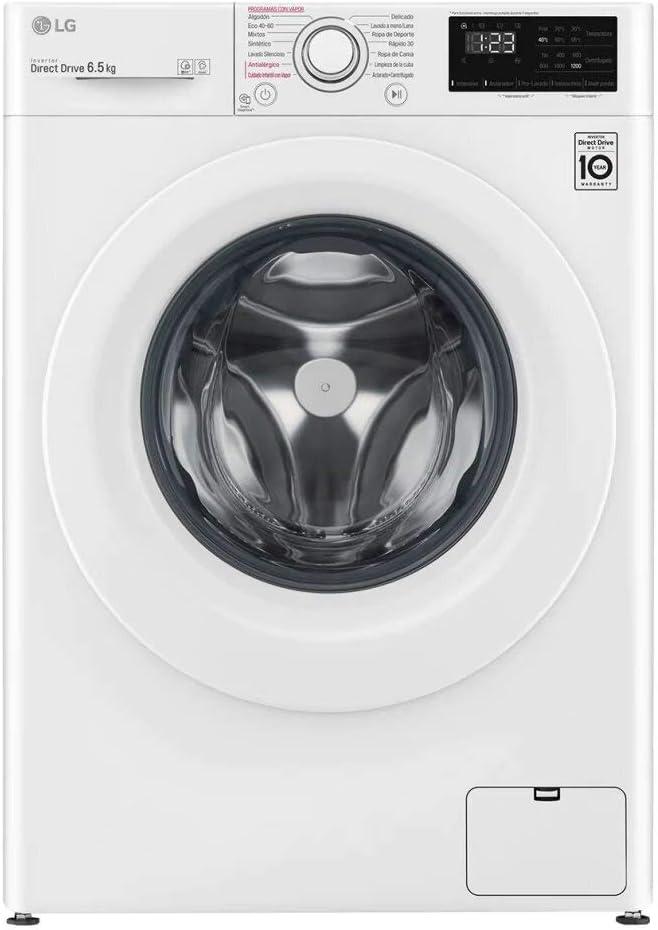 LG Electronics F2WN2S65S3W - Lavadora inteligente, Serie 200 Fondo especial, 6.5 kg, 1200 RPM, A+++(-20%), color blanco