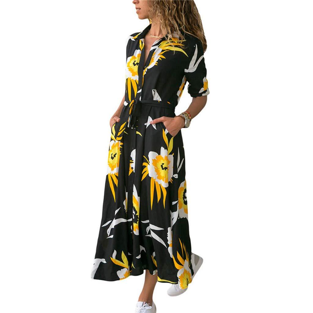 Mikilon Womens Collar Button Down Midi Dress Long Sleeve Belt Maxi Shirt Sutumn Casual Floral Print Dresses Formal Black