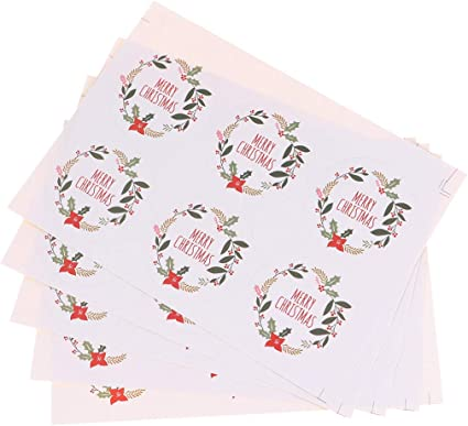 Guirnalda Feliz Navidad Redondo Etiquetas Adhesivas Pegatinas sobre De Regalo