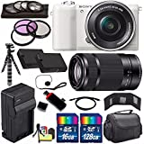 Sony Alpha a5100 Mirrorless Digital Camera with 16-50mm Lens (White) + Sony E 55-210mm f/4.5-6.3 OSS E-Mount Lens 144GB Bundle 25 - International Version (No Warranty)
