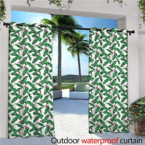 cobeDecor Banana Leaf Indoor/Outdoor Single Panel Print Window Curtain Lush Jungle Leafage Flowering Stems of Island Tree Hawaiian Aloha Pattern Silver Grommet Top Drape W84 x L108 Green Plum White from cobeDecor