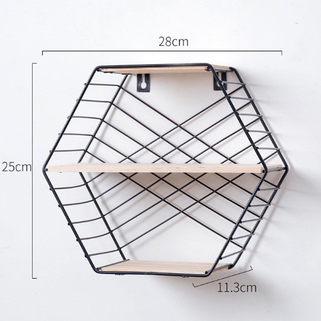 HMANE 3-Tier Wall Storage Rack,Decorative Hanging Hexagon Shelf Organizer for Kitchen,Bathroom,Office - Black by HMANE (Image #1)