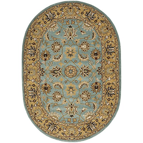 Safavieh Heritage Collection HG958A Handcrafted Traditional Oriental Blue and Gold Wool Oval Area Rug (4'6
