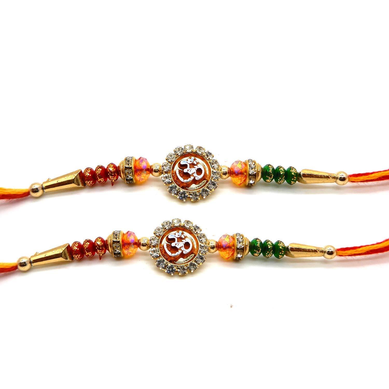 Set di 2 Red Om Design, Multi Stone & Beads e Fancy Stone Rakhi, Rakshabandhan, Rakhi per fratello Bignay