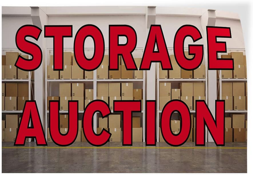 45inx30in Set of 5 Decal Sticker Multiple Sizes Storage Auction Business Storage Auction Outdoor Store Sign Red
