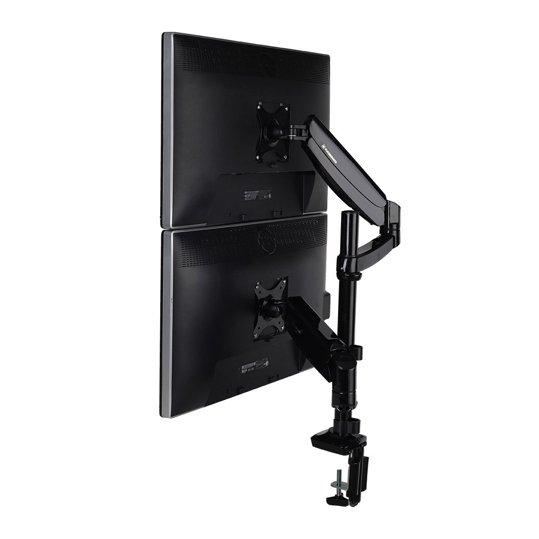 FLEXIMOUNTS Vertical Dual Monitor Mount LCD arm,Full Motion Stacking Desk mounts for 10''-27'' Computer Monitor, w Clamp or Grommet Desktop Support