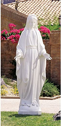 Val Gardena Our Lady of Grace Resin Wood Replica Statue White 60 Inches