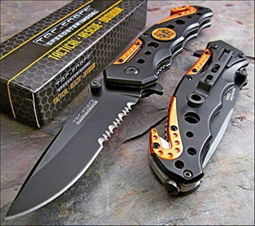 TAC FORCE KNIVES Assisted Opening Rescue Knives BLACK ORANGE EMT Tactical Knife 1 Knife