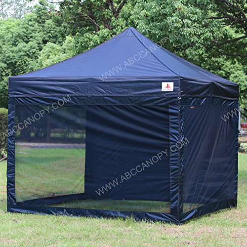 (18+colors)ABCCANOPY 10x10 Easy Pop up Commmercial Canopy Tent with Matching White Mesh Walls Bonus Rolly Carry Bag and 4x Weight Bag (navy blue)